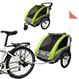 Veelar Sports 2 in 1 Kinderanhänger Fahrradanhänger Anhänger mit Buggy Set + Federung BT603-D02 GRÜN