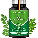 Moringa Oleifera Kapseln   BIO-Qualität OHNE Zusätze   Energy Tabs im 4 Monatsvorrat   SUPERFOOD reich an Protein Vitamin C Aminosäuren Pflanz Proteinpulver Presslinge Veganes Eiweißpulver 100% VEGAN
