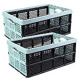 Klappbox Einkaufskorb, 2 Stück grün, 32 Liter, 51 x 34 x 23 cm, stapelbar, Tragkraft bis ca. 20 kg, Made in EU