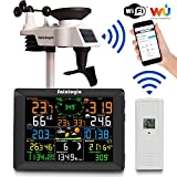 Sainlogic Profi WLAN Wetterstation, Smart WiFi Internet Funk Wetterstation mit großem 8 Zoll Farb-Display und Außensensor, Wettervorhersage (8 Kanäle)
