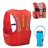TRIWONDER 5L Trinkrucksack mit Trinkblase, Ultraleicht Laufrucksack für Marathon, Bergläufe, Radfahren (Rot&Orange, M/L - 83-92cm)