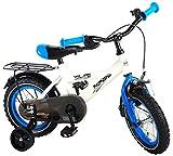 Kinderfahrrad Jungen Thombike 12 Zoll mit Vorradbremse am Lenker und Rücktrittbremse, Stützräder Weiß Blau 95% Zusammengebaut