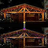 Ollny Lichtkette 306 LEDs Lichtvorhang Eiszapfen Außen, Warmweiß und Bunt Eisregen Lichterketten mit 11 Modi Fernbedienung und EU Stecker für Weihnachten Party Hochzeit, usw.