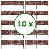 BOGATECO 10 x Beeteinfassung aus Weide | 100 cm Lang & 20 cm Hoch | Holz-Zaun Rasenkante | Weiden-Zaun Steckzaun Perfekt für den Garten als Weg-Abgrenzung