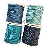 Yourandoll 4 Rollen Gewachst Baumwollschnur Wachsband Baumwollkordel 1MM * 80M für DIY Armband Halskette Schmuckherstellung (Farbe 1)