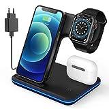 Wireless Charger, Qi Induktive Ladestation mit 18W QC 3.0 Ladegerät, Kabellose Ladestation für iPhone 12Mini/12/11 ProMax/XS MAX/XR/X/8/Apple Watch 6/5/4/3/2/1/Airpods und Qi-fähige Geräte(Schwarz)
