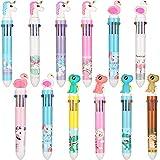 12 Stücke Einhorn Stift Shuttle Stifte 10 in 1 Druck Kugelschreiber für Büro Schule Bedarf Party Geschenke