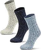 Circle Five 3 Paar Wintersocken mit Schafwolle für Kinder - warme Wollsocken für Jungen und Mädchen Farbe Grau/Blau/Dunkelblau Größe 19-22