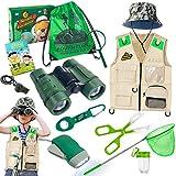 Draussen Forscherset & Bug Catcher Kit mit Kinder Weste, Fernglas, Lupe, Schmetterlingsnetz, Hut und Rucksack, Adventurer Set Geschenke für 3-10 Jahre Junge Spielzeug