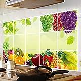 BLOUR Neue Küchenfruchttrauben abnehmbare Wandaufkleber Anti-Öl-Aufkleber Wandaufkleber Küchenfliesen Aluminiumfolie Ölaufkleber