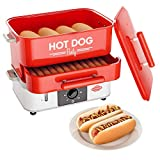 HOT DOG WORLD - Großer Hot Dog Maker mit Brötchenwärmefach - Hot Dog Party Steamer
