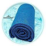 Commodoor Eistuch in blau I kühlendes Handtuch I Mikrofasertuch Sport I Training Towel I Fitness Handtuch 30 x 90 cm I Cool Down Handtuch I atmungsaktiv I Outdoor Handtuch