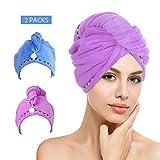 htovila Haarturban Handtuch für die Haare Haar-Handtuch Turban 2er Set schnelltrocknendes Handtuch (Blau + Dunkellila)