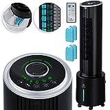 KESSER® 4in1 Mobile Klimalage TURM Klimagerät Ventilator/Luftkühler/Luftbefeuchter/Ionisator, mit Fernbedienung, 6L Wassertank, 45 W, 500 m³/h Luftdurchsatz, Klima, Schwarz