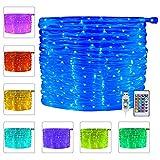 Ollny LED Schlauch RGB Außen 10M 100 LED mit USB, IP68 Wasserdicht Lichtschlauch 16 Farben 4 Modi mit Fernbedienung & Timer, Bunt Lichterschlauch für Weihnachten Party Balkon Hochzeit Deko