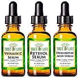 Anti-Aging-Serum 3er-Pack für das Gesicht - Vitamin C Serum, Retinol Serum, Hyaluronsäure Serum - Face Serum Voll Regimen (3 Ounce)