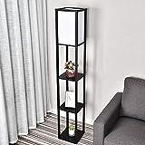YU YUSING Stehlampe mit Holzregal Innenbeleuchtung 1,6m Holz Stehleuchte mit Regalen für Schlafzimmer und Wohnzimmer