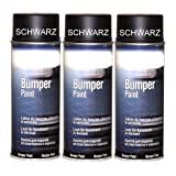 3 Spraydosen Stoßstangenlack Bumperlack schwarz Speziallack für Kunststoff Stoßstangen