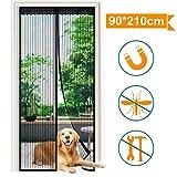 Viixm Magnet Fliegengitter Tür Insektenschutz 90x210 cm, Magnetische Bildschirmtür Reißfestigkeit Klebmontage ohne Bohren magnetvorhang perfekt für Balkontür, Wohnzimmer, Kellertür und Terrassentür