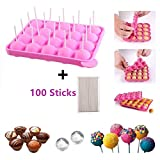 BPA-frei Lollipop Candy Silikon Formen & Ice Cube Tabletts 100 Sticks mufin Kuchen Gumdrop Jelly molds- Rosa