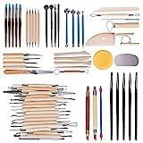 Hakkin 61 teilig Töpferwerkzeug-Set Keramik Ton Werkzeugsatz,die Skulptur Schnitzen Werkzeug Modellierwerkzeug Modellierset für Ton Gips Modellbau Malerei Wachs Töpfer Knetmasse