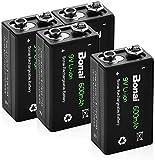 BONAI Akku 9V Block 600mAh Li-ion Wiederaufladbare Batterien 6F22,Lithium-ion 9 Volt Aufladbare Akkubatterien mit geringer Selbstentladung & Lange Lebensdauer (4 Stück)