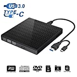 Externes DVD-CD-Laufwerk Typ C und USB 3.0 CD-DVD-RW-Lesegerät mit SD-TF-Kartenleser und USB-Stick-Anschluss tragbarer DVD-CD-RW-ROM-Brenner für Laptop-PC Windows 7/8/10 / Vista/XP/Mac OS (Black)