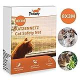 Toozey Katzennetz Katzenschutznetz für Balkon und Fenster, 8x3m Balkonschutznetz, Katzennetz Schutznetz für Balkon Transparent inkl. Befestigungsseil & Kabelbinder