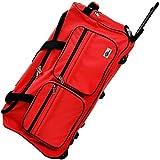 DEUBA Reisetasche | mit Trolleyfunktion | Rollen mit Kugellager | Teleskopgriff | abschließbar -【Farb-und Größenauswahl】 Sporttasche Reisetrolley Gepäcktasche, Rot, 85L = 70 x 36 x 34 cm (LxBxH)