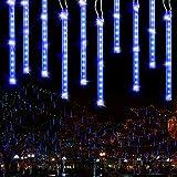 Regen Lichterkette Außen, BrizLabs 240 LED Meteorschauer Lichterregen Schneefall Lichter Wasserdicht Weihnachten Beleuchtung für Hochzeit Party Garten Balkon Baum Dekoration, 30cm 10 Tubes, Blau