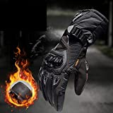 MENUDOWN Motorradhandschuhe 100% wasserdichte Winddichte Winter Warme Vollfinger-Touch Screen Handschuhe für Motorrad Radfahren/Camping/Wandern/Klettern/Outdoor Sports Handschuhe,Black-XL