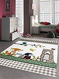 Kinderteppich Spielteppich Kinderzimmerteppich Tiere mit Bär Fuchs Hase Igel Eule Vögel in Beige Braun Orange, Größe 120x170 cm