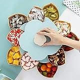 Hamkaw Doppelschichtige Servierplatte, Blumen-Form, drehbare Snack-Behälter mit 10 Fächern, Süßigkeiten-Appetizer-Tablett getrocknete Früchte Aufbewahrung, Organizer Snack-Box für Party Zuhause