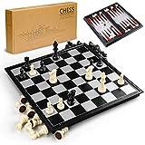 Gibot 3-in-1 Schachspiel Magnetisch , 32CM x32 cm Einklappbar Schachbrett Pädagogische Speil mit Magnetischem für Kinder, Reisen, Schwarz und weiß