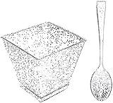 200 Stück Desserttassen aus Kunststoff mit Mini-Löffeln Silberglitter, 100 Stück quadratische 2-Unzen-Einwegbecher und 100 Stück silberne Mini-Löffel für Vorspeisen