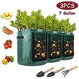 AONOKOY 3 Stück Pflanzsack, 7 Gallonen 3x31.8L Recycelbar Pflanze Wachsende Tasche mit Sichtfenster und Griffen, Pflanzbeutel für Gartenbalkonpflanzen aus Kartoffeln, Tomaten, Blumen