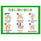 10er Set Hände waschen Aufkleber Schulen Kitas Geschäfte Händewaschen Hinweisschild Hände richtig desinfiziert
