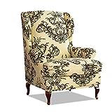 PETCUTE Sesselbezüge Ohrensessel Bezug Stretch Sesselbezug für Ohrenbackensessel Husse Passt Perfek für Ohrensessel mit Muster Blumen Kaffee