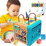 ATCRINICT 6 in 1 Mehrzweck Aktivitätswürfel Baby Spielzeug für 12-18 Monate Musikalisches Frühpädagogisches Mehrfarbiges Formsortier Geschenk Spielzeug für 1 2 3 Jahre alte Jungen und Mädchen