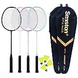 Senston Carbon Badmintonschläger 4er Set Badminton Schläger Leichtgewicht Badminton Schläger Federballschläger mit Schlägertasche