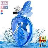 E-MANIS Tauchmaske,Faltbare Vollmaske Schnorchelmaske mit 180° Sichtfeld und Kamerahaltung,Dichtung aus Silikon Anti-Fog und Anti-Leck Technologie für Kinder (Blau)