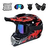 Motocross Helm Set mit Brille Handschuhe Maske Motorrad Netz, Schwarz und Rot, Unisex Adult Off Road Helm Kit Crosshelme Motorradhelm Schutzhelm ATV Helm für Männer Damen Sicherheit Schutz,L
