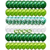 64 Stück Luftballons, Grün Ballons mit Konfetti Luftballons, 12 Zoll deko grün ballon,helium luftballons für kinder geburtstag deko, balonen girlande,junge Dinosaurier Party Deko