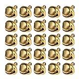 WINOMO Klein Glöckchen Weihnachten Hochzeit Dekoration Glöckchen Schellen Weihnachtsbaum Anhänger 100 Stücke 12mm (golden)
