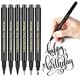 Kalligraphie Stifte Set Schwarze Fasermaler Pinsel Stift: APOGO 6 Stöcke Kalligraphie Marker, Kunstzeichnungen, für Schriftzug, Anfänger Tagebuch, Unterschrift(4 Größen)
