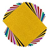 Glitzer Plotterfolie Textil -30.48 cm x 25.4 cm 15 Pack Flexfolie für T-Shirts & Stoffe