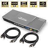 TESmart 2fach HDMI KVM Switch – 4K Ultra HD mit 3840 x 2160 bei 60 Hz 4:4:4; unterstützt USB 2.0 Gerätebedienung bis max. 2 Computer/Server/DVR (Grau)