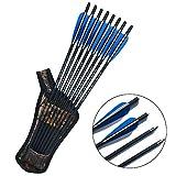 SHARROW 12 x Armbrustbolzen 20 Zoll Carbonpfeile Armbrustpfeile 16 17 18 22 Zoll Bolzen für Armbrust mit Pfeilköcher Armbrustpfeil Köcher (Blau, 20')