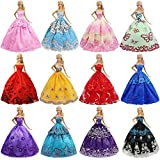 ZITA ELEMENT 6er Mode Kleider für Fashionistas Puppe Prinzessin Abendkleid Brautkleider Outfit Kleidung Kleid Pupenkleidung Spitzenkleider Ballkleider