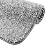 VPOW rutschfeste Badematte, Badteppich für das Badezimmer, wasserabsorbierende nachgeahmte Kaschmir Badematten 80 x 50 cm, waschbar, flauschig, weiche Mikrofaser Fußmatte für Badewannen oder Duschen